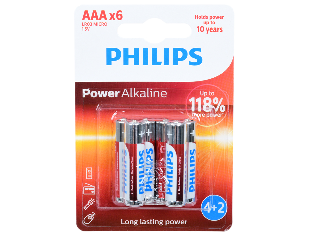 Батарейки Philips LR03P6BP/10 Power (AAA) щелочные (блистер 6 шт) philips pt 727 16
