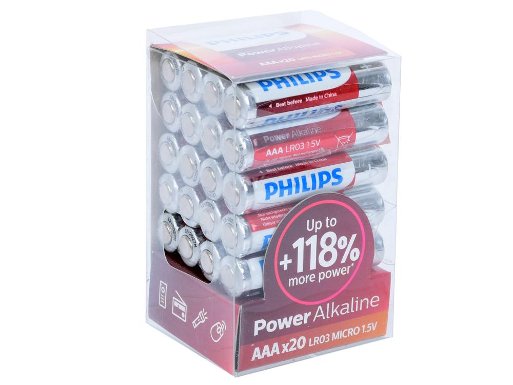 Батарейки Philips LR03P20T/10 (AAA) Power щелочные (упаковка 20 шт) батарейки d lr20 4шт трофи щелочные