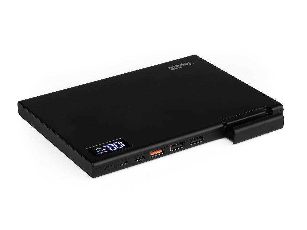 Внешний аккумулятор TopON TOP-MAX2 30000мАч, QC3.0, Экран, . В комплекте Type-C - Type-C, Type-C - USB A, MicroUSB - USB A, Цвет черный