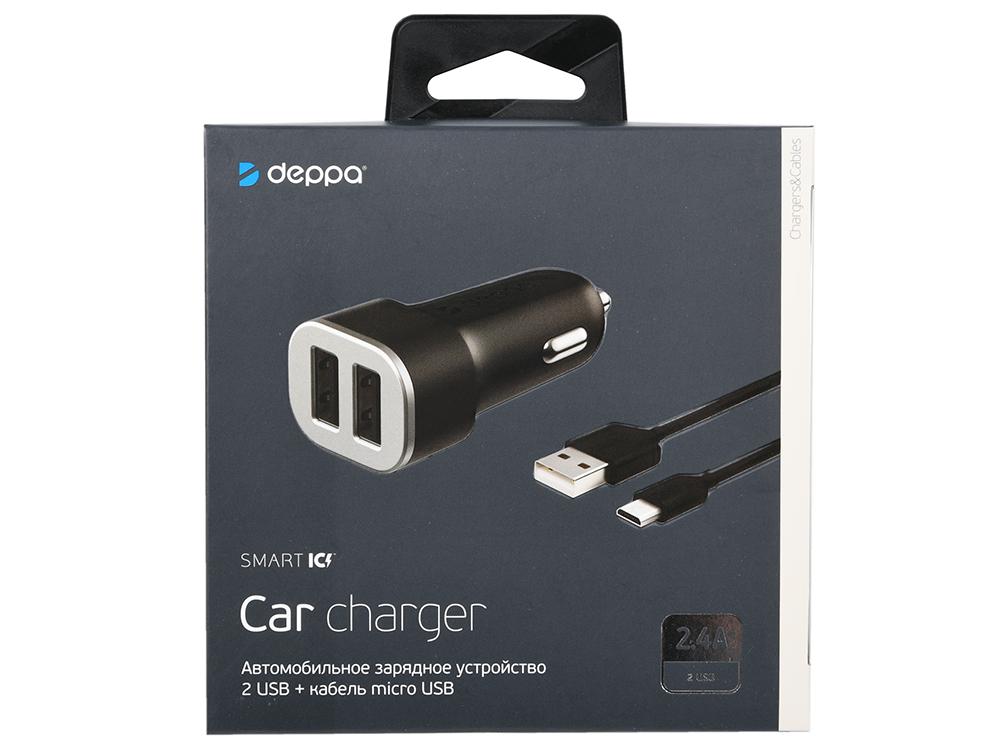 Автомобильное зарядное устройство Deppa 2 USB 2.4А + кабель micro USB, черный автомобильное зарядное устройство deppa 11293 usb type c usb a qc 3 0 power delivery 18вт черный