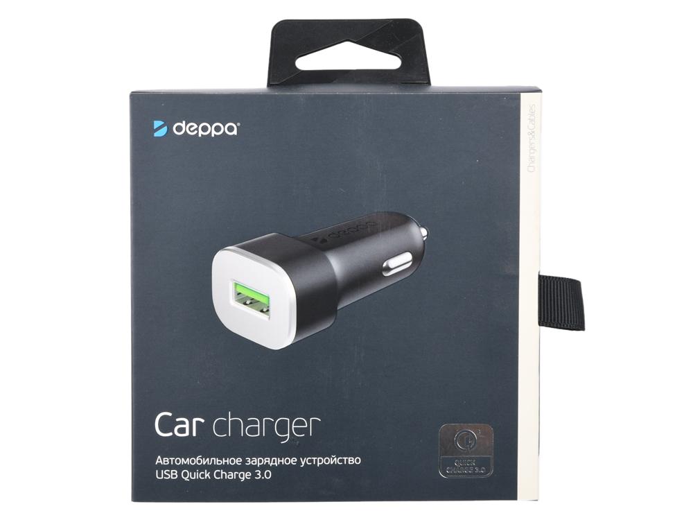 Автомобильное зарядное устройство Deppa 11286 USB QC 3.0, черный автомобильное зарядное устройство deppa 11293 usb type c usb a qc 3 0 power delivery 18вт черный