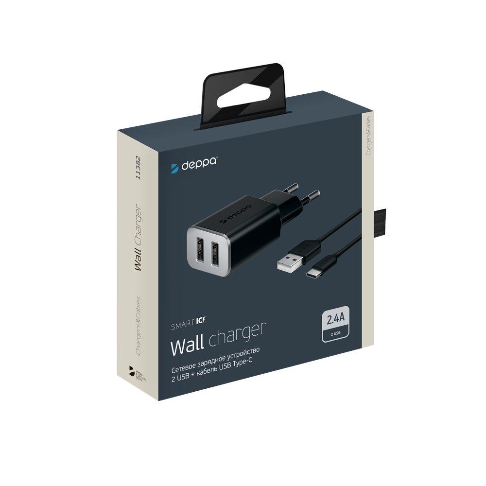 Сетевое зарядное устройство Deppa 2 USB 2.4А + кабель USB Type-C, черный цена