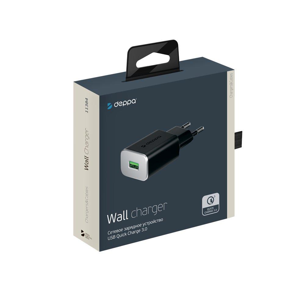 Сетевое зарядное устройство Deppa USB QC 3.0, черный