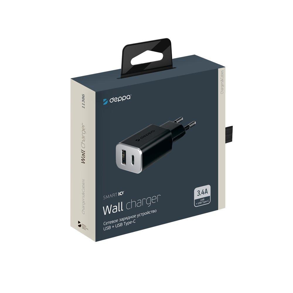 Сетевое зарядное устройство Deppa USB + USB Type-C 3.4А, черный автомобильное зарядное устройство deppa usb a usb type c 4 8a черное 11288
