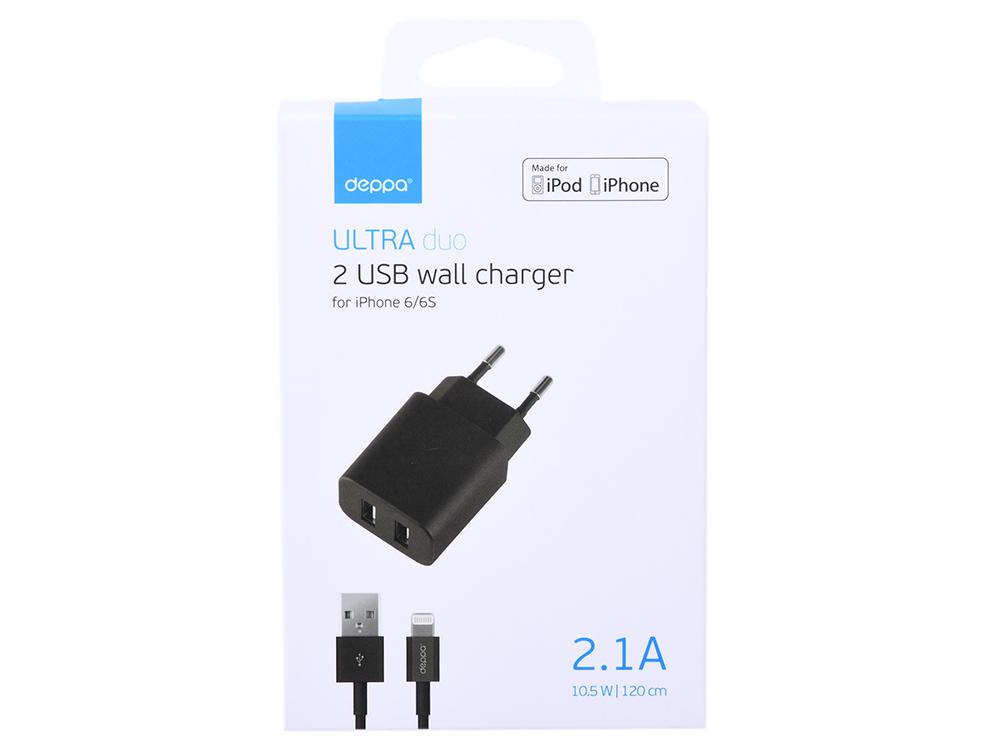 Зарядное устройство USB Deppa 11355 черный 2xUSB, 2.1А, дата-кабель Lightning (MFI) стоимость