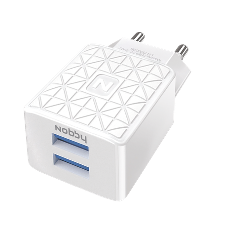 Сетевое зарядное устройство Nobby Practic, 2USB, 2,1А, NBP-TC-21-02, белый