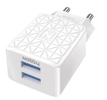 Сетевое зарядное устройство Nobby Practic NBP-TC-21-02 белый 2USB, 2,1А зарядное