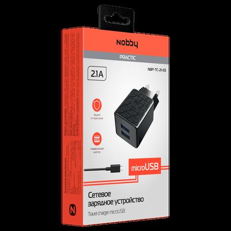 Сетевое зарядное устройство Nobby Practic, 2USB, 2.1А, кабель micro-USB, NBP-TC-21-03, черный сетевое зарядное устройство nobby comfort 2usb 2 1а 1 1а кабель microusb 1 2 м softtouch черный 08 001