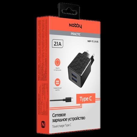 Сетевое зарядное устройство Nobby Practic, 2USB, 2.1А, кабель Type-C, NBP-TC-21-05, черный сетевое зарядное устройство nobby comfort 2usb 2 1а 1 1а кабель microusb 1 2 м softtouch черный 08 001