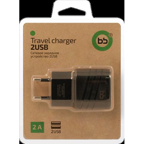 Сетевое зарядное устройство BB 2 USB, 2 А., черный, 011-001