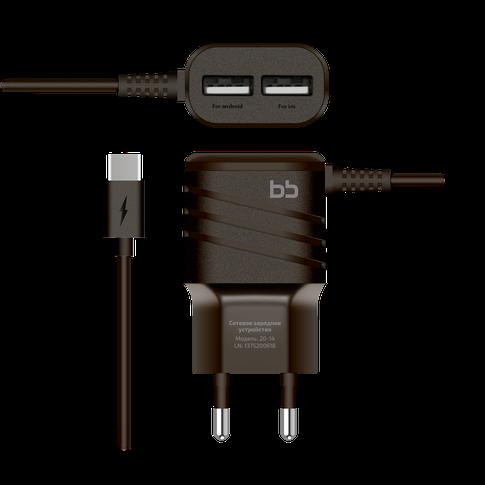 Сетевое зарядное устройство BB type C, 2А, 1,2м, черн., BB-TC-20-14