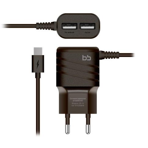Сетевое зарядное устройство Nobby BB-TC-20-14 Type C, 2А, 1,2 м, черный