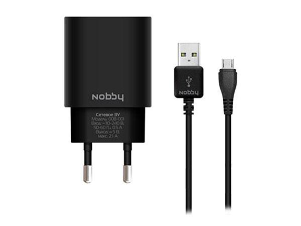 Сетевое зарядное устройство Nobby Comfort 08-001 черный 2xUSB, 2,1А (1/1А) + кабель microUSB 1,2 м цена