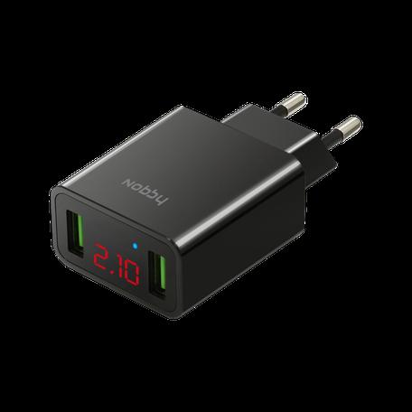 Сетевое зарядное устройство Nobby Comfort, 2USB, 2,1А, LED (V и А), NBC-TC-21-20, черный сетевое зарядное устройство nobby comfort 2usb 2 1а led v и а nbc tc 21 20 черный