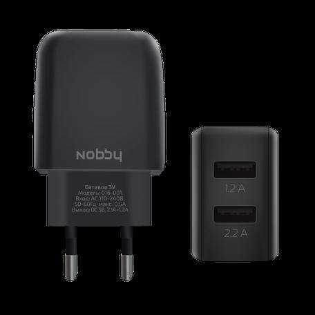 Сетевое зарядное устройство Nobby Comfort, 2USB, 3,4А (2.1/1.2А), Soft Touch, черный, 016-001 сетевое зарядное устройство nobby comfort 2usb 2 1а 1 1а кабель microusb 1 2 м softtouch черный 08 001