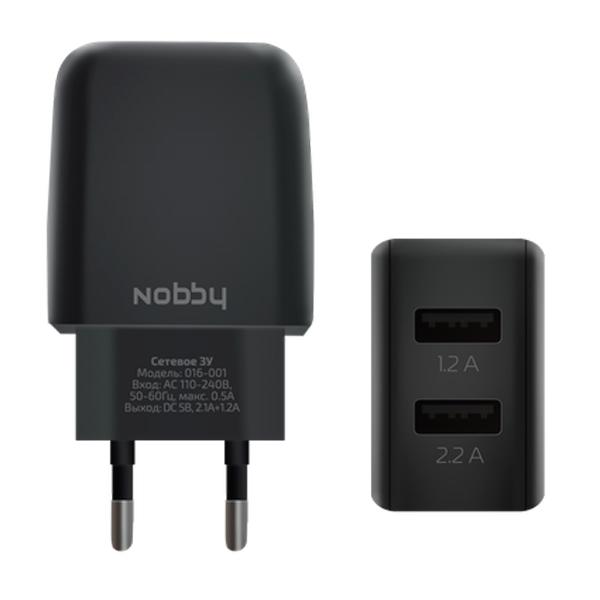 Сетевое зарядное устройство Nobby Comfort 016-001 черный 2USB, 3,4А (2.1/1.2А), Soft Touch цена и фото