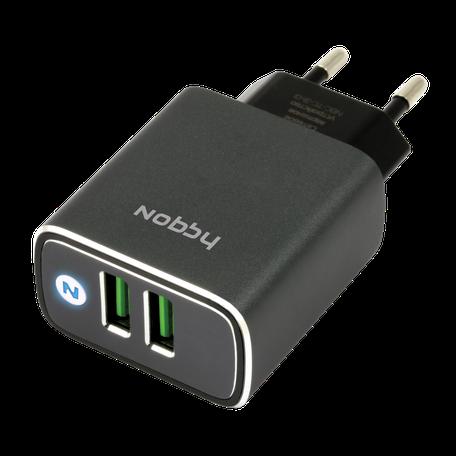 Сетевое зарядное устройство Nobby Comfort NBC-TC-31-01 2xUSB, 3.1A все цены