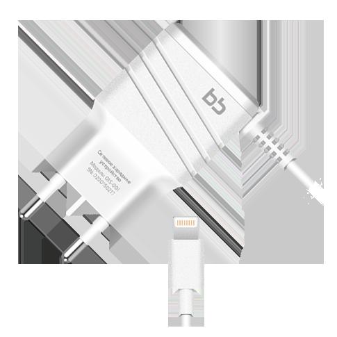 Сетевое зарядное устройство BB s8pin для Apple 2А, 1.2 м, бел., 015-001