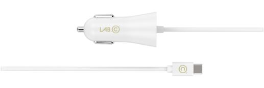 Автомобильное зарядное устройство LAB.C 585 со встроенным кабелем Type-C. Дополнительный USB разъем. Сила тока 2,4А. Цвет золотой. все цены