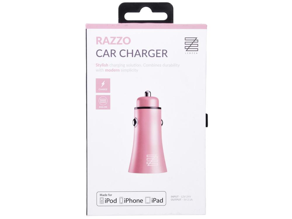 Автомобильное зарядное устройство LENZZA Razzo Metallic Car Charger. Два порта USB 5В, 2,1А. Цвет розовое золото. автомобильное зарядное устройство car charger vpcch34blk черное
