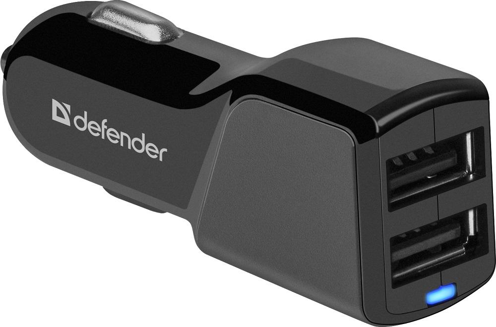 Фото - Автомобильное зарядное устройство Defender UCA-34 2xUSB, 5V/2.4А портативное зарядное устройство powerocks tetris 2xusb 3000mah белый
