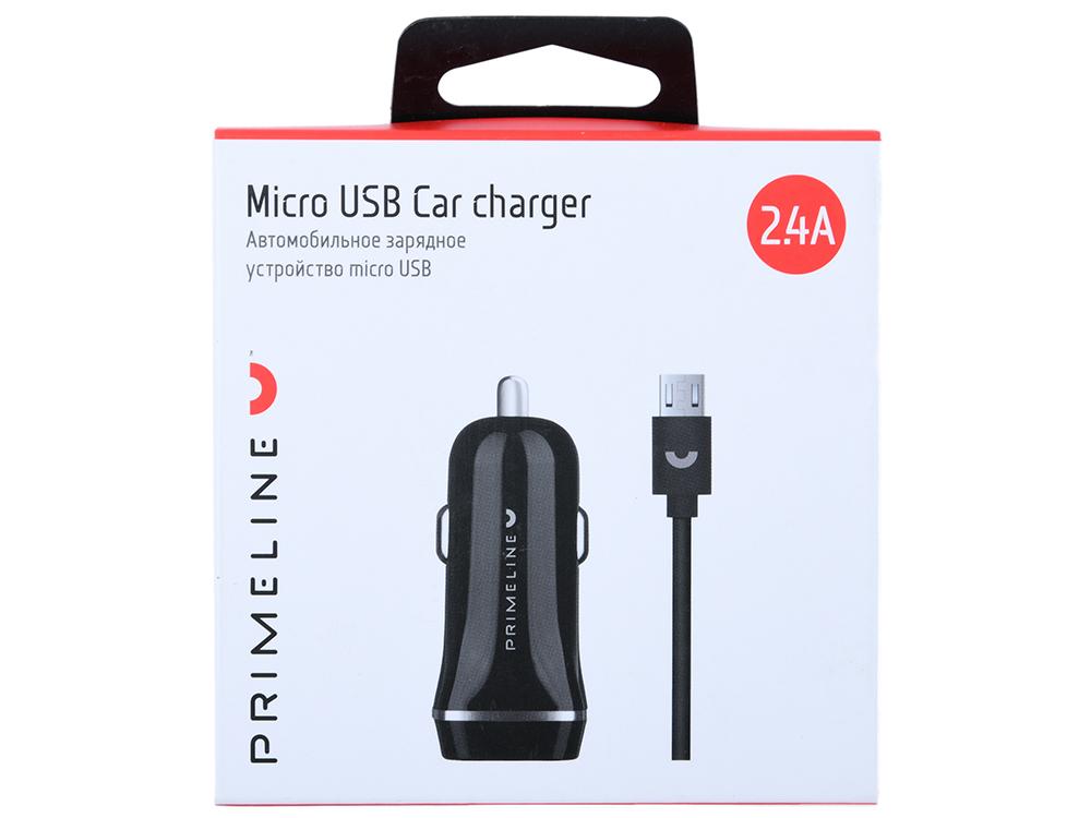 Фото - Автомобильное зарядное устройство Prime Line 2226 2xUSB 2.4A + кабель microUSB 1.2м, черный зарядное