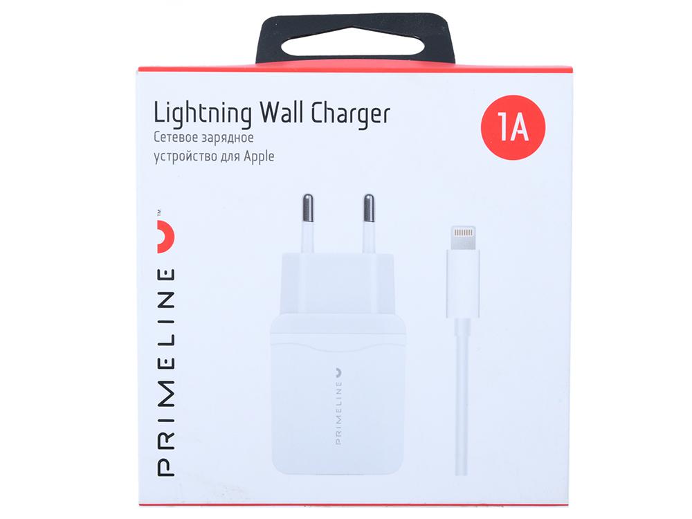 Фото - Зарядное устройство USB Prime Line 2323 1A + кабель Apple lightning 8-pin, 1.2м, белый автомобильное зарядное устройство partner 8 pin lightning 2 1a белый пр033322