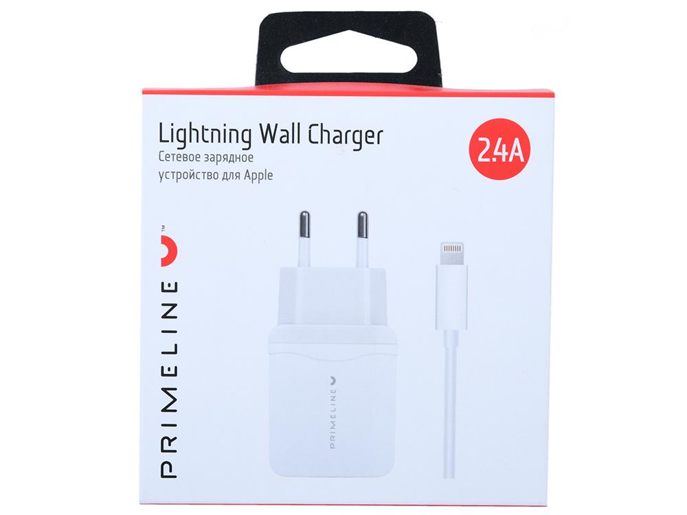 цена на Зарядное устройство Prime Line 2327, 2xUSB, 2.4A + кабель Apple lightning 8-pin, 1.2м, белый