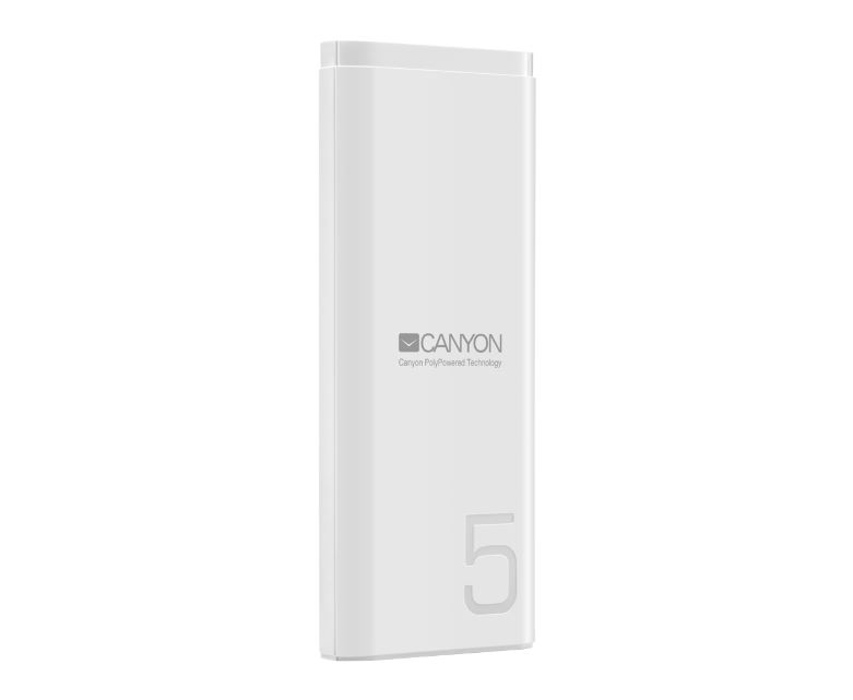 Внешний аккумулятор Canyon CNE-CPB05W White 5000mAh, 2.1A