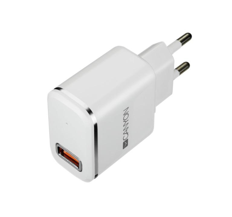 Зарядное устройство CANYON CNE-CHA043WS 1xUSB, 2.1 A