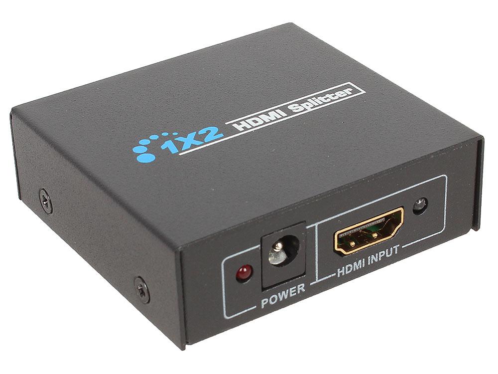 лучшая цена Разветвитель HDMI Orient HSP0102N, 1-2, HDMI 1.4/3D, HDTV1080p/1080i/720p, HDCP1.2, внешний БП-зарядник 1xUSB 5В/1A, метал.корпус