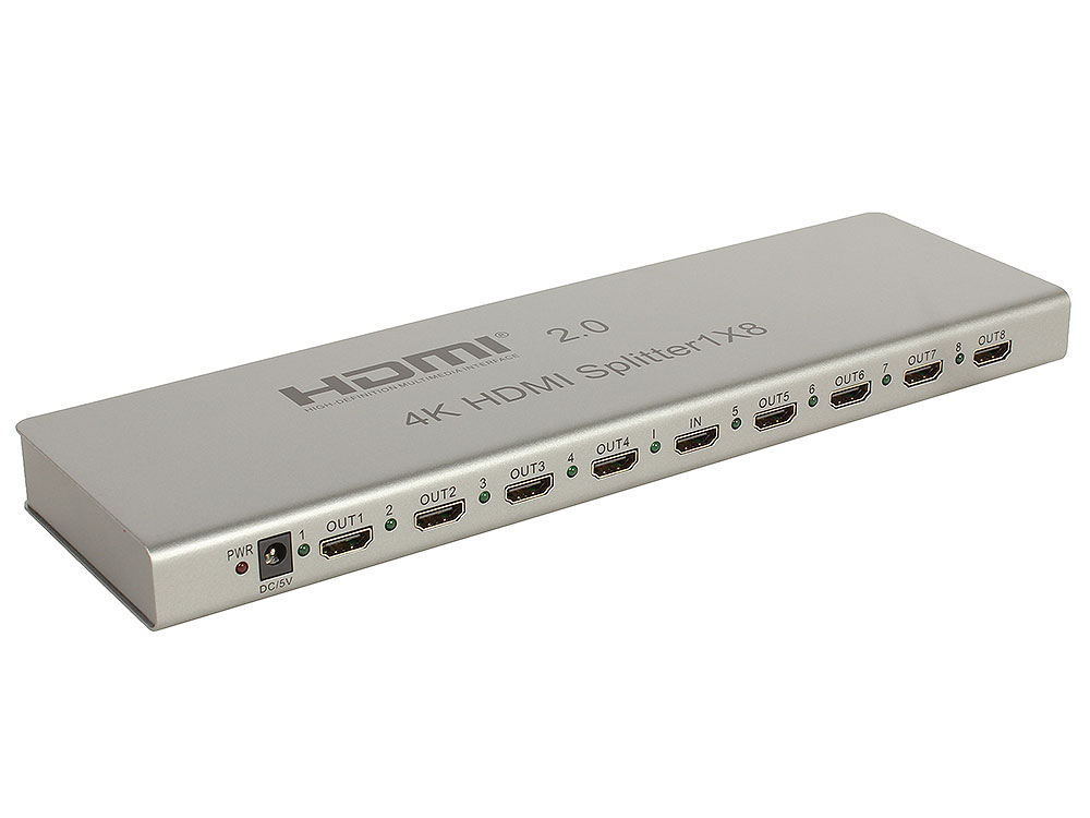 Разветвитель Orient HSP0108H-2.0, HDMI 4K Splitter 1-8, HDMI 2.0/3D, UHDTV 4K/ 60Hz (3840x2160)/HDTV1080p, HDCP2.2, EDID управление, RS232 порт, IR в мини пк voyo windows 8 1 intel z3735f 2 64 hdmi 4k mini pc