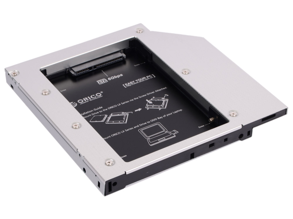 Адаптер HDD в отсек оптического привода ноутбука Orico L127SS-SV 2.5