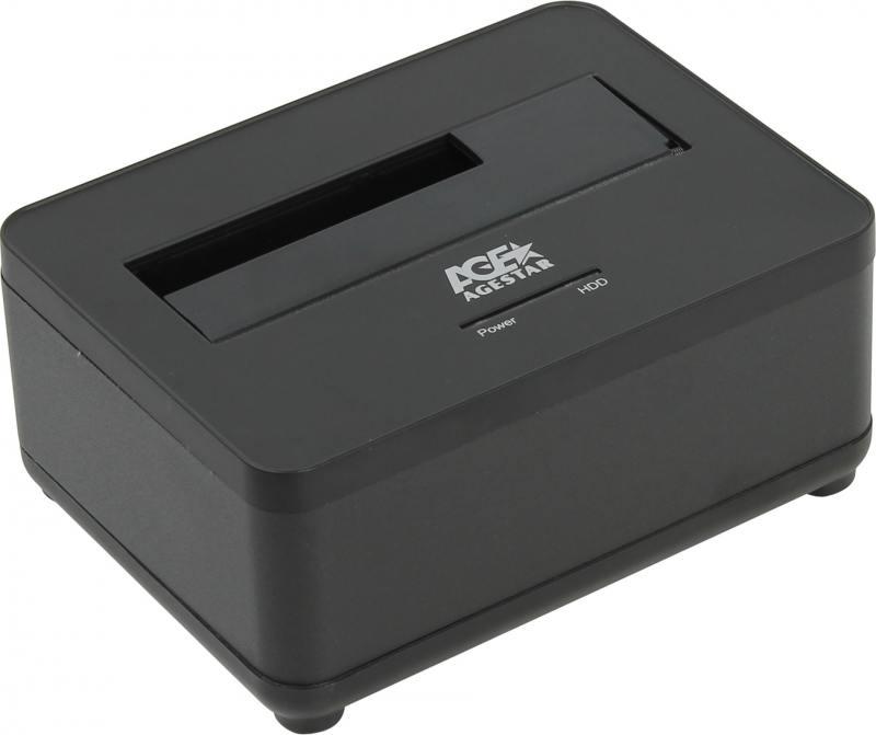 цена на Док станция для HDD 2.5/3.5 SATA AgeStar 3UBT7 (BLACK) USB3.0, пластик+алюминий, черная