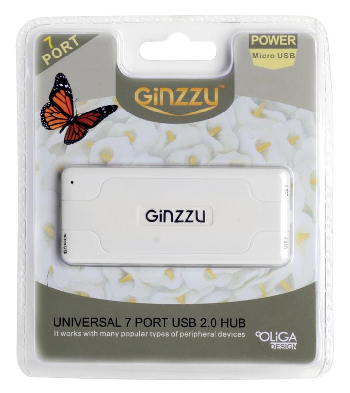 Концентратор USB 2.0 Ginzzu GR-415UW (7 портов, White) цена и фото