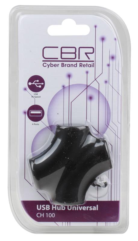 Концентратор USB 2.0 CBR CH-100 Black (4 порта) usb хаб cbr ch 100 green