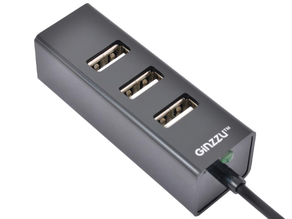 Концентратор USB2.0 HUB 4 порта Ginzzu GR-474UB 1,1m cable цена