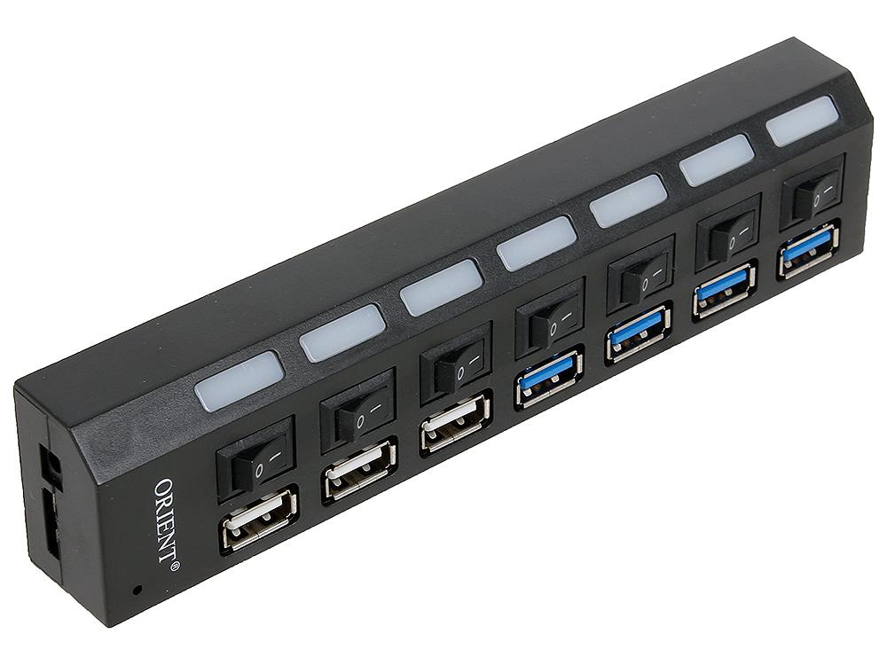 Концентратор USB3.0 HUB 7 портов Orient BC-315 c БП 2xUSB (5В, 2.1А), выключатели на каждый порт, цвет черный адаптер hyperdrive gn28d 2xusb c to 2xusb c 2xusb3 0 2xusb c cardreader sd microsd mini displayport hdmi silver