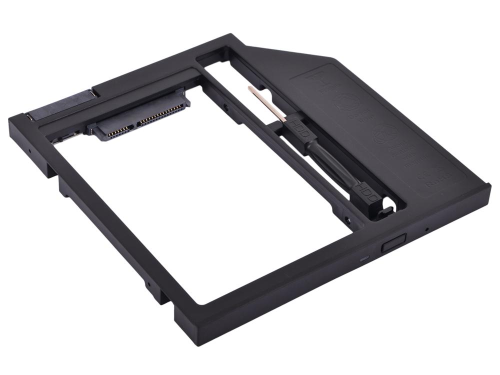 "Адаптер оптибей Espada SS90 (optibay, hdd caddy) SATA/miniSATA (SlimSATA) 9мм для подключения HDD/SSD 2,5"" к ноутбуку вместо DVD flash hdd плееры"