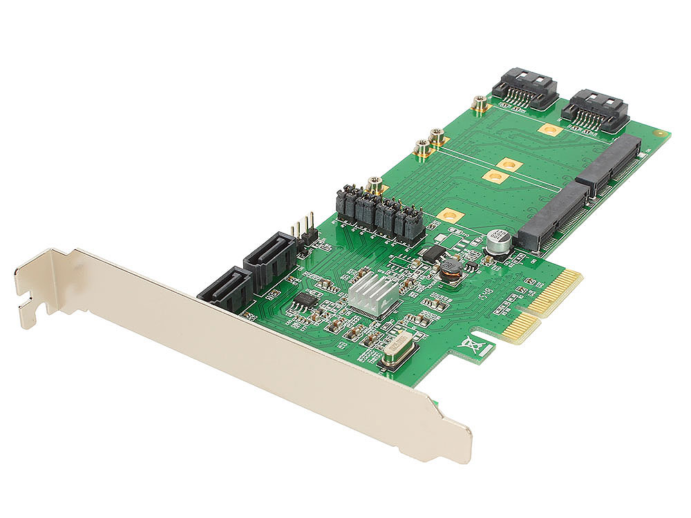Контроллер PCI-E 2.0 to 4 port SATA3 (6Gb/s) + 2 порта mSATA Espada FG-EST14A-1-BU01 RAID (0, 1, 10, JBOD), Hyper Duo,чип Marvell 88SE9230 4 msata ssd pci e 2 0 hybrid controller card raid0 raid1 raid10 marvell hyperduo pci express flash solutions databases