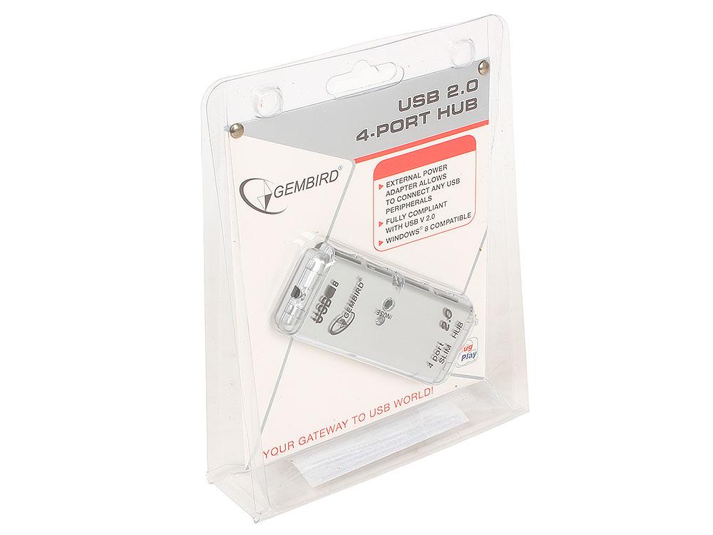 Концентратор USB 2.0 Gembird UHB-C244, 4 порта, питание, блистер