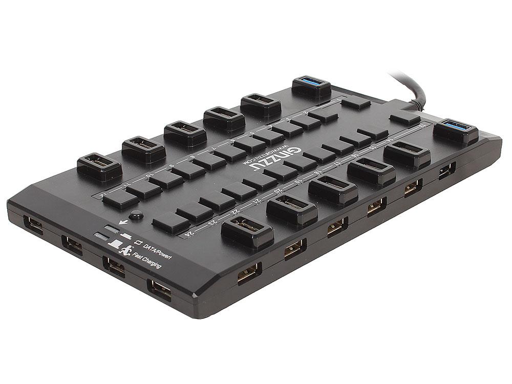 цена на Концентратор USB 3.0/2.0 Ginzzu GR-328UAB, 28-ми портовый + адаптер GA-3020B (5В/4.0А)