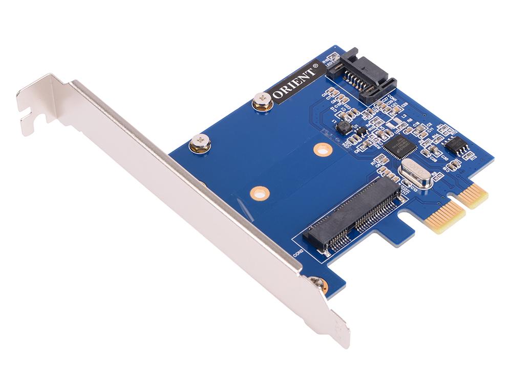 Контроллер ORIENT A1061S-MS, PCI-E v2.0 SATA 3.0 6 Gb/s, 2int port: mSATA+SATA, поддержка HDD до 6TB, ASM1061 chipset, oem