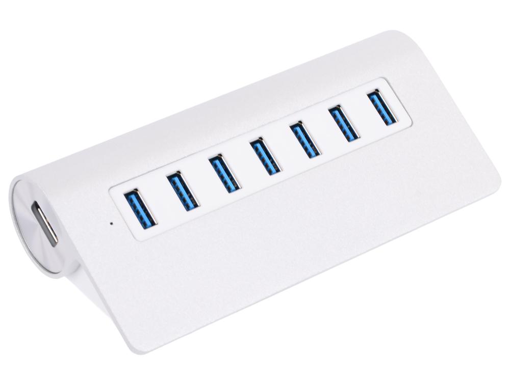 Концентратор USB Orico M3H7 (серебристый) USB 3.0 x 7, адаптер питания концентратор usb orico h4013 u3 белый usb 3 0 x 4 возможность подключения дополнительного питания