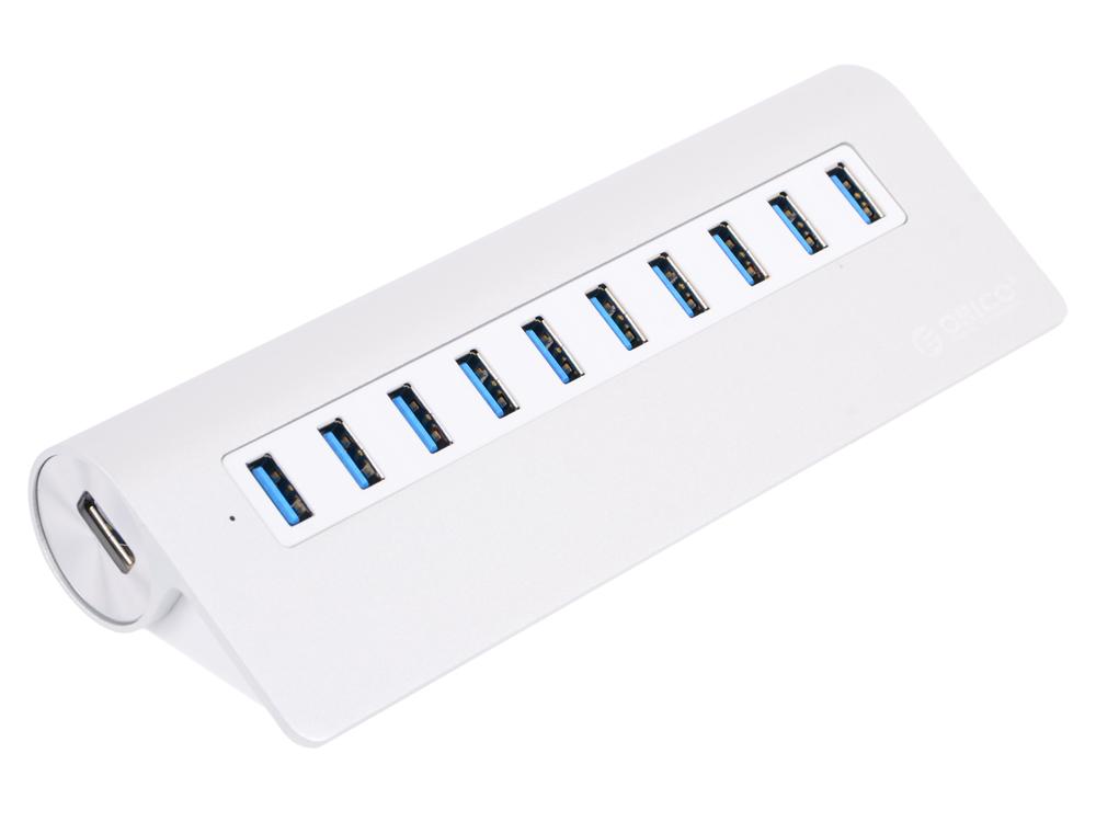 Концентратор USB Orico M3H10 (серебристый) USB 3.0 x 10, адаптер питания концентратор usb orico h4013 u3 белый usb 3 0 x 4 возможность подключения дополнительного питания