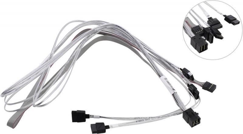 лучшая цена Кабель SuperMicro CBL-SAST-0556, 75см, miniSAS HD to 4 SATA, разъемы SFF8643 -to- 4*SATA +SideBand(SFF8448)