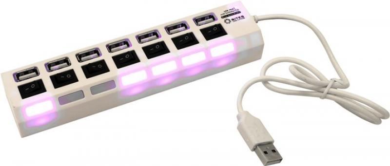 Концентратор 5bites HB27-203PWH 7*USB2.0, блок питания 5В-2А, 1метр, белый хаб usb 5bites hb27 203pwh usb 7 ports white