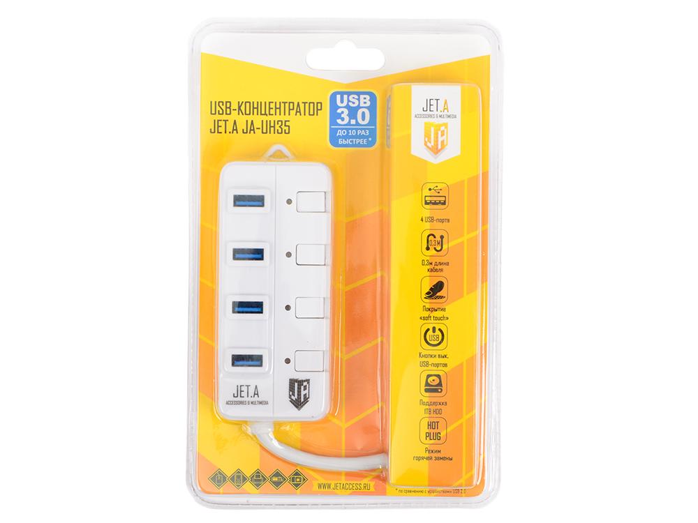 USB-концентратор Jet.A JA-UH35 на 4 порта USB 3.0, Hot Plug, с выключателями портов, белый цена