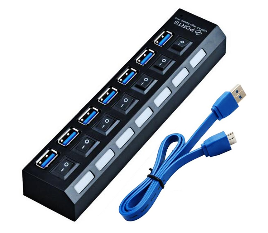 Концентратор USB 3.0 Orient BC-317 черный HUB 7 портов, c БП-зарядником USB (5В, 3А), выключатели на каждый порт цена и фото