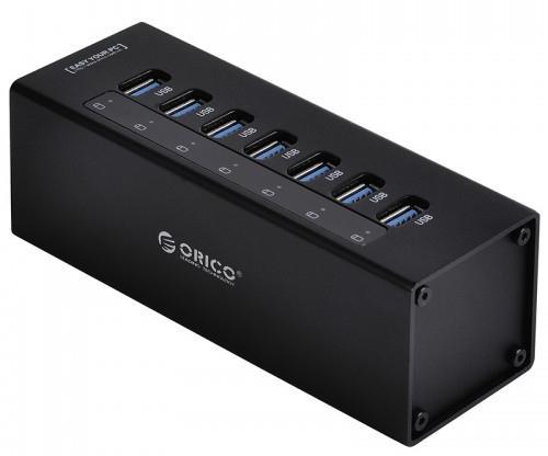 Концентратор USB 3.0 Orico A3H7-BK 7 x USB 3.0 черный usb концентратор orico lha u3 черный